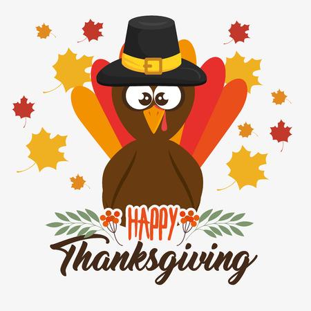 Ilustración de happy thanksgiving day turkey with autumn leaves vector illustration graphic design - Imagen libre de derechos