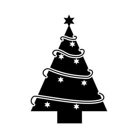 Illustration for christmas tree pine star decoration ornament design vector illustration - Royalty Free Image