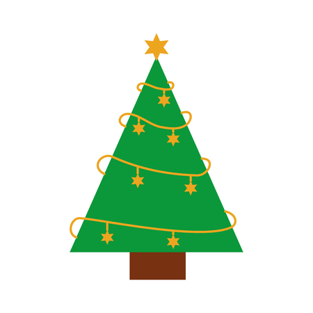 Ilustración de christmas tree pine star decoration ornament design vector illustration - Imagen libre de derechos