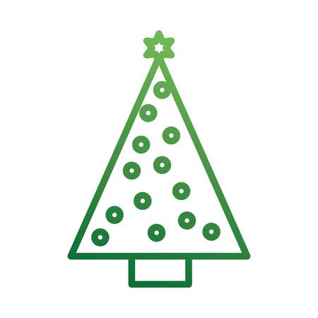 Illustration for christmas tree pine star ball decoration ornament design vector illustration - Royalty Free Image