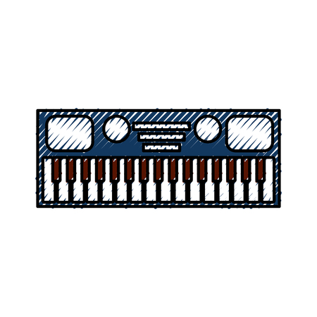 Illustration for synthesizer electronic instrument keyboard musical on white background vector illustration - Royalty Free Image