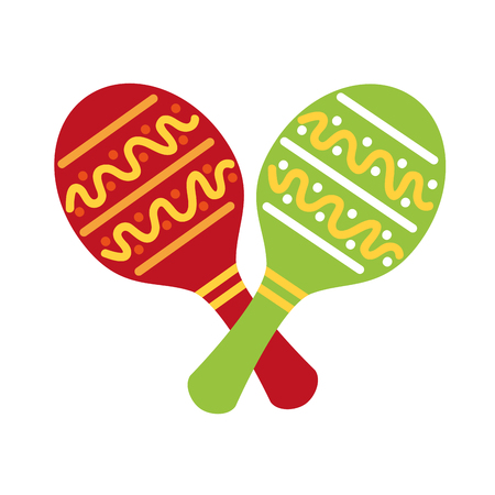 Illustration for maracas mexican music instrument celebration carnival vector illustration - Royalty Free Image