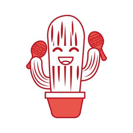 Illustration for cartoon happy potted cactus with maracas celebration mexican vector illustration - Royalty Free Image