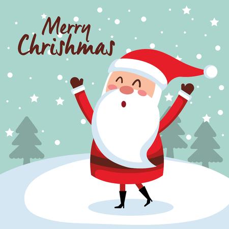 Illustration for merry christmas santa character vector illustration design - Royalty Free Image