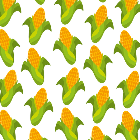 Illustration for sweet corn cartoon thanksgiving day seamless pattern vector illustration - Royalty Free Image