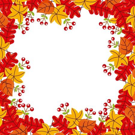 Illustration pour autumn leaves season floral design border frame orange yellow vector illustration - image libre de droit