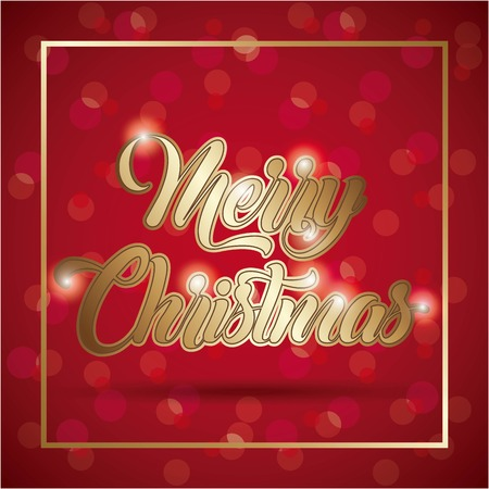 Illustration for merry christmas card golden lettering blurry background vector illustration - Royalty Free Image