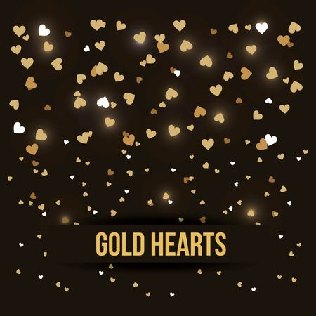 Illustration pour gold hearts love luxury romance black background vector illustration - image libre de droit
