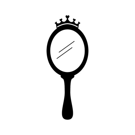Illustration for crown princess magical mirror with hearts vector illustration - Royalty Free Image