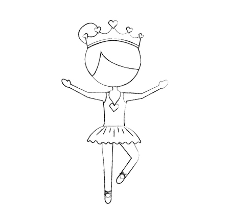 Ilustración de the little girl danced ballet with tutu dress and crown vector illustration - Imagen libre de derechos