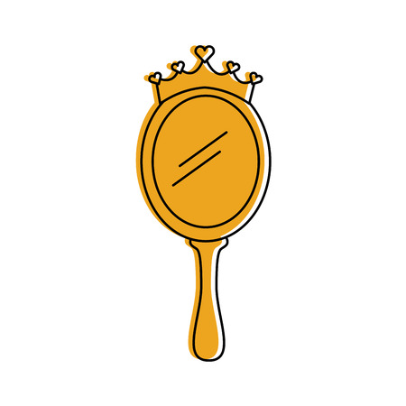 Illustration for crown princes magical mirror with hearts vector illustration - Royalty Free Image