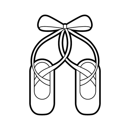 Ilustración de pair pointe ballet shoes slippers icon vector illustration - Imagen libre de derechos