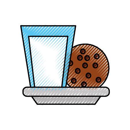 Ilustración de milk glass and cookie chocolate chips snack vector illustration - Imagen libre de derechos