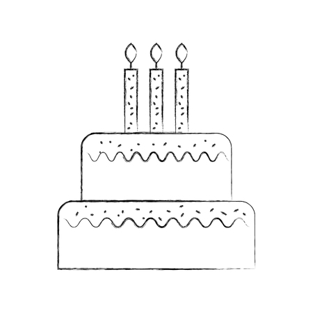 Ilustración de birthday cake with candles burning sweet delicious vector illustration - Imagen libre de derechos