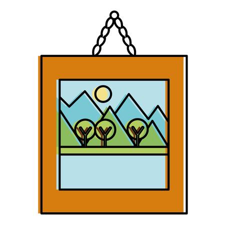 Illustration pour landscape painting isolated icon vector illustration design - image libre de droit