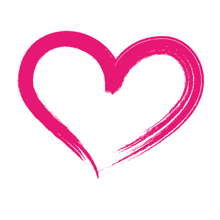 Photo pour brush drawing heart love romance passion vector illustration - image libre de droit