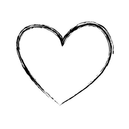 Ilustración de brush drawing heart love romance passion vector illustration - Imagen libre de derechos