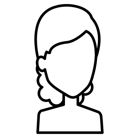Ilustración de Female avatar character; Woman with wavy hair in outlined, black and white illustration. - Imagen libre de derechos