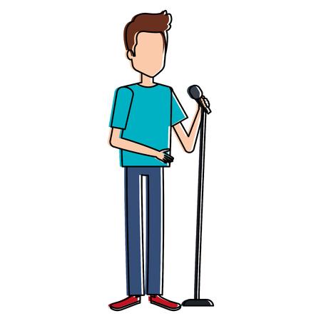 Illustration pour man singing with microphone vector illustration design - image libre de droit