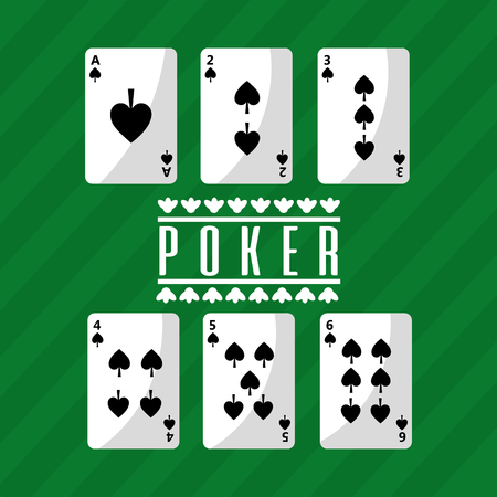 Illustration pour poker playing cards deck spade playing green background vector illustration - image libre de droit