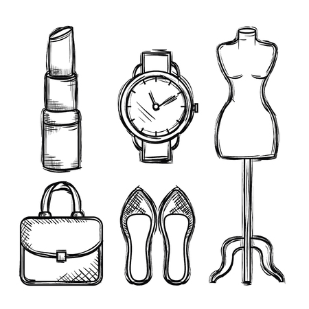 Illustration for female fashion accesories icons vector illustration design - Royalty Free Image