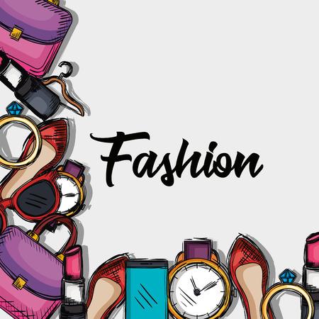 Illustration pour female fashion accesories icons vector illustration design - image libre de droit