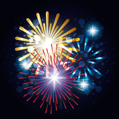 Illustration for decorative fireworks explosions poster vector illustration design - Royalty Free Image