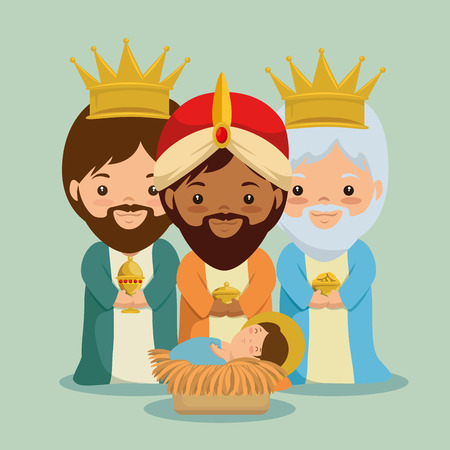 Illustration pour merry christmas three magic and wise kings vector illustration graphic design - image libre de droit