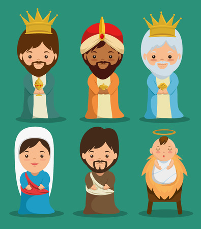 Illustration for merry christmas nativity scene with holy family vector illustration graphic design - Royalty Free Image