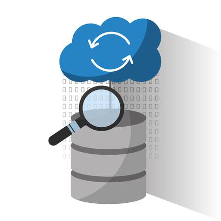 Illustration pour data center server storage cloud search solution analysis vector illustration - image libre de droit