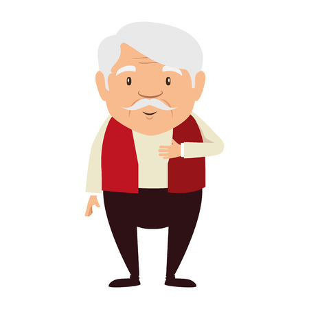 Illustration for cute grandfather avatar character vector illustration design - Royalty Free Image
