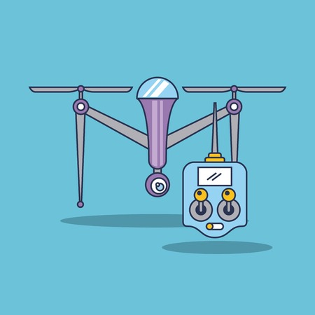 Illustration pour drone quadcopter with remote controller vector illustration - image libre de droit