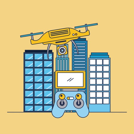 Illustration pour drone flying remote control and city building vector illustration - image libre de droit