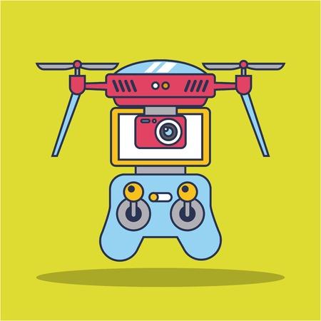 Illustration pour drone quadcopter with remote controller vector illustration - image libre de droit
