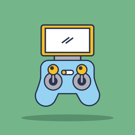 Illustration pour remote controller device advanced for drone panel with display and sticks vector illustration - image libre de droit