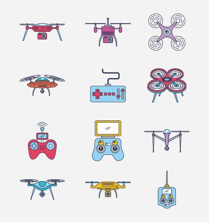 Illustration pour drone icon set remote control aerial camera view vector illustration - image libre de droit