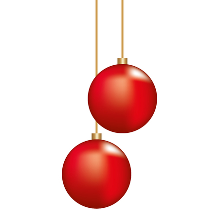 Illustration for Christmas red balls hanging ornament decoration vector illustration - Royalty Free Image
