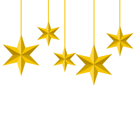 Illustration for christmas ornaments with stars hanging and decoration vector illustration - Royalty Free Image