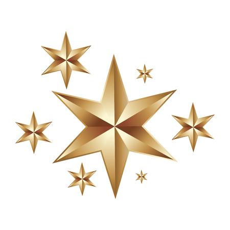 Illustration for decorative christmas stars golden ornament icon vector illustration - Royalty Free Image