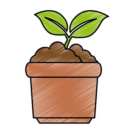 Illustration for garden pot with plant vector illustration design - Royalty Free Image