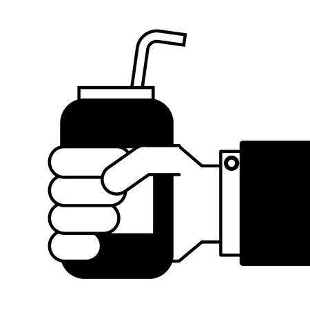 Illustration for hand holding drink energy can straw vector illustration - Royalty Free Image