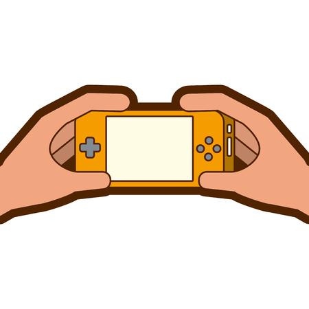 Illustration pour hands holding mobile game console gadget vector illustration - image libre de droit