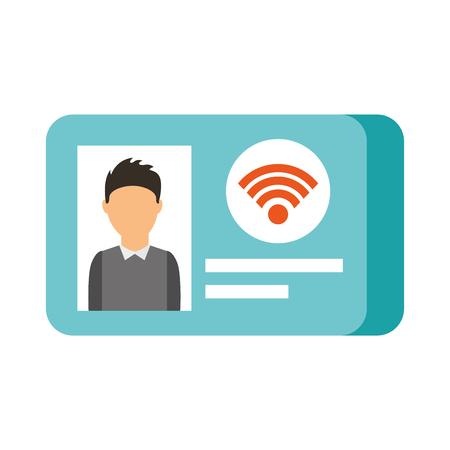 Ilustración de id card photo online wifi shop vector illustration - Imagen libre de derechos