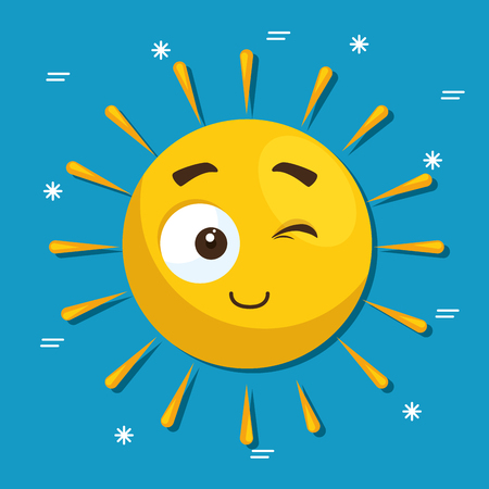 Ilustración de summer sun face cartoon vector illustration graphic design - Imagen libre de derechos