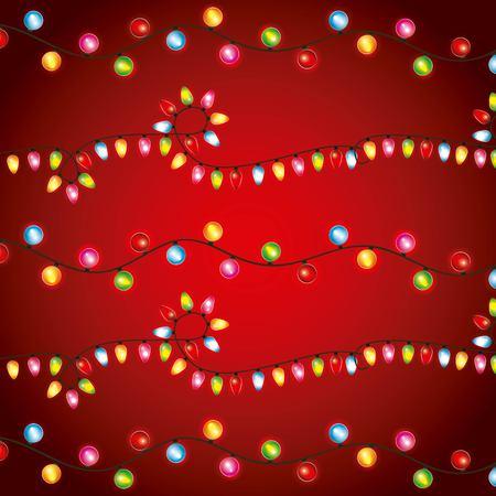 Illustration pour Christmas lights luminous garland bulbs decoration red background vector illustration - image libre de droit