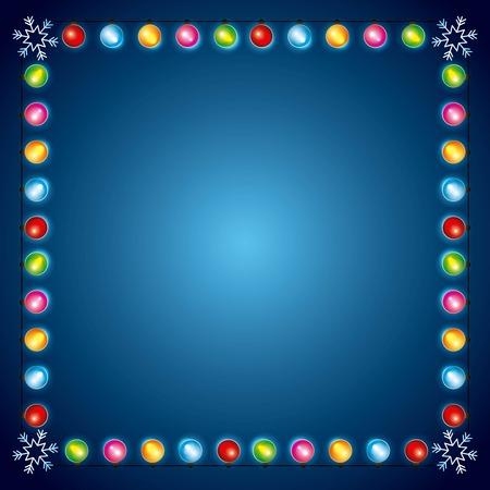 Illustration pour christmas lights luminous garland snowflake border decoration vector illustration - image libre de droit