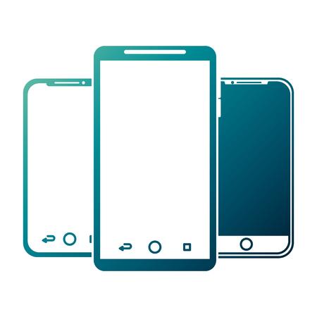 Illustration pour set of mobile phone gadget with blank screen vector illustration - image libre de droit