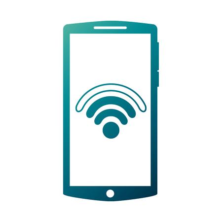 Illustration pour Mobile phone gadget wifi internet screen vector illustration - image libre de droit