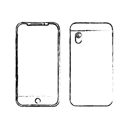 Illustration pour Smartphone gadget digital front and back view design, vector illustration. - image libre de droit