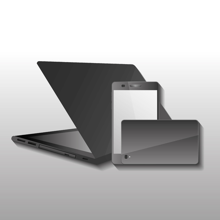Illustration pour Technology gadget wireless laptop and mobiles phone front and back image vector illustration. - image libre de droit